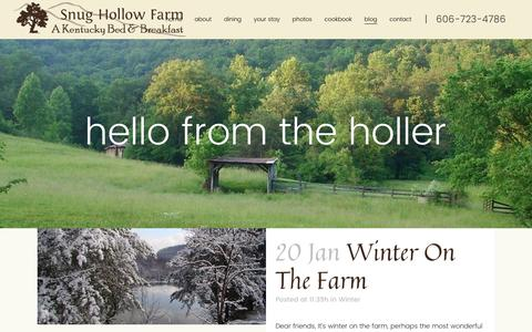 Screenshot of Blog snughollow.com - hello from the holler - Kentucky Bed & Breakfast - captured April 27, 2017
