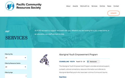 Screenshot of Services Page pcrs.ca - Services | Pacific Community Resources Society (PCRS) - captured Sept. 26, 2018