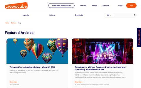 Screenshot of Blog crowdcube.com - Crowdcube | Funding the wonderful | Crowdcube - captured Aug. 10, 2019