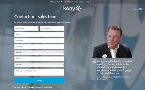 Screenshot of Contact Page kony.com - Contact Kony Solutions, Inc. | Kony - captured April 2, 2018