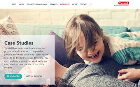 Screenshot of Case Studies Page tunstall.com - Case Studies & Evidence   Tunstall Healthcare UK - captured July 2, 2018