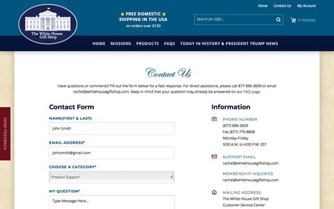 Screenshot of Contact Page whitehousegiftshop.com - The White House Gift Shop, Est. 1946 by Permanent Order of President H. S. Truman and Members of Secret Service is Your Source for 70 years of Authentic White House, Presidential, Diplomatic, Camp David, Military, Official White House Ornaments, and  - captured June 30, 2018