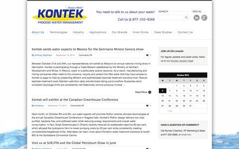 Screenshot of Press Page kontekecology.com - News & Events - Kontek - Process Water Management - captured Oct. 6, 2014