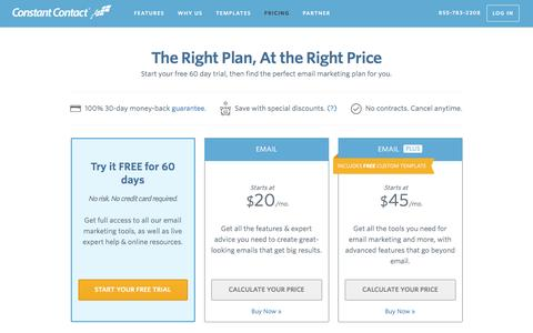 Screenshot of Pricing Page constantcontact.com - Email Marketing Software | Constant Contact Pricing - captured Jan. 24, 2016