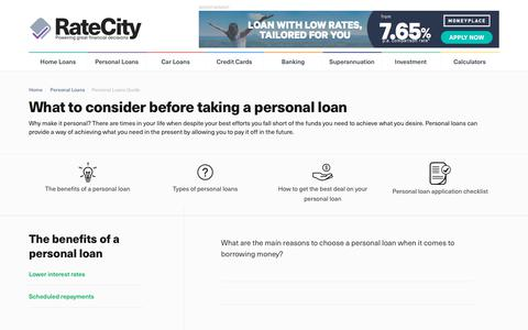 Personal Loans Guide | Personal Loan Considerations | RateCity