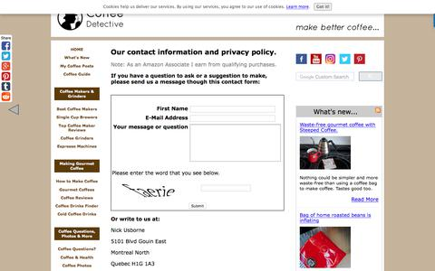Screenshot of Privacy Page coffeedetective.com - Coffee Detective Contact Information and Privacy Policy - captured Sept. 22, 2018