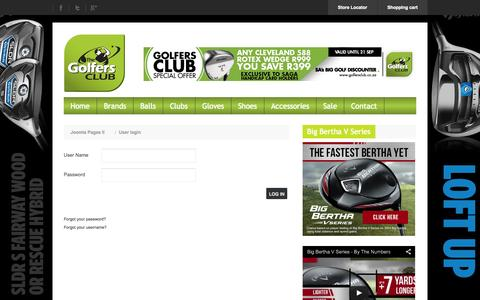 Screenshot of Signup Page golfersclub.co.za - User login - captured Sept. 22, 2014