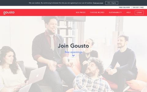 Screenshot of Jobs Page gousto.co.uk - Job Vacancies & Careers at Gousto - captured Aug. 21, 2019