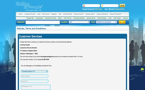 Screenshot of Support Page linkingpeople.co.nz - Linking People   Customer Services - captured Sept. 30, 2014