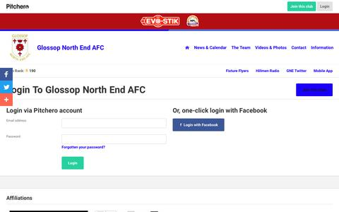 Screenshot of Login Page pitchero.com - Glossop North End AFC - captured Oct. 31, 2018