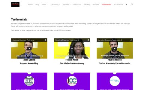 Screenshot of Testimonials Page marketingsharpnesstest.com - Testimonials   MARKETING SHARPNESS - captured Oct. 27, 2014