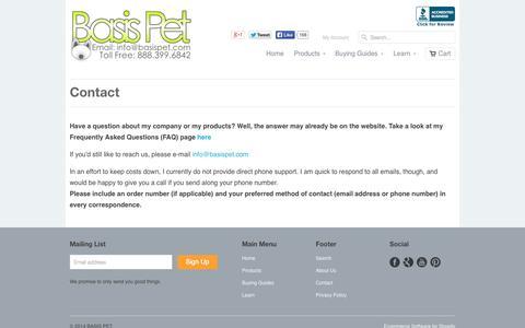 Screenshot of Contact Page basispet.com - Basis Pet - Contact Us - captured Oct. 5, 2014