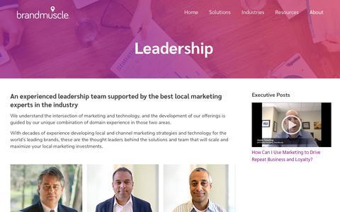 Screenshot of Team Page brandmuscle.com - Leadership – BrandMuscle - captured July 29, 2019