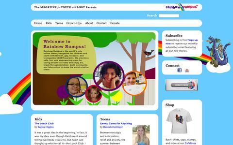 Screenshot of Home Page rainbowrumpus.org - Welcome to Rainbow Rumpus! | Rainbow Rumpus - captured Sept. 26, 2014