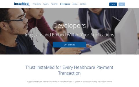 Screenshot of Developers Page instamed.com - Integrate and Embed with Your Healthcare Applications: InstaMed - captured July 4, 2016