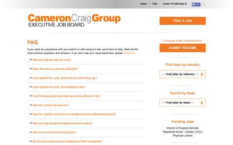 Screenshot of FAQ Page cameroncraig.com - FAQ - Cameron Craig Group. Find A Job Here Today. - captured Sept. 22, 2014