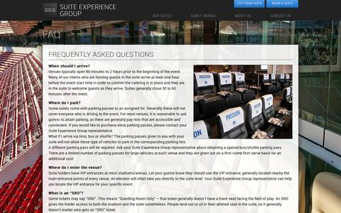 Screenshot of FAQ Page suiteexperiencegroup.com - FAQ | Suite Experience Group - captured Feb. 25, 2016