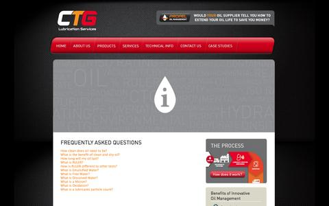 Screenshot of FAQ Page ctgls.com.au - FAQ's oil cleaning, filtration, filter, dehydration, oil, lubricant | CTG Lubrication Services - captured Oct. 1, 2014