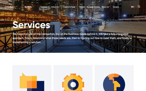 Screenshot of Services Page cresa.com - Services -  Cresa - captured Nov. 5, 2018