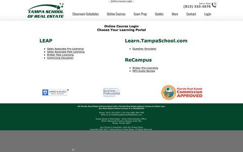 Screenshot of Login Page tampaschoolofrealestate.com - Online Course Login - Tampa School of Real Estate - captured Nov. 7, 2018