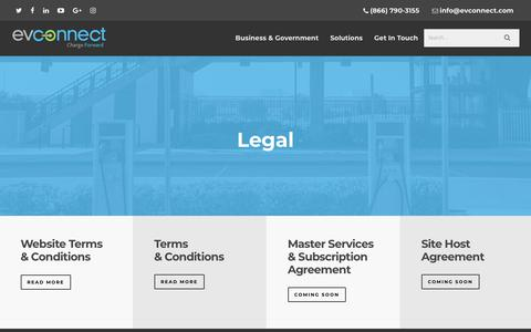 Screenshot of Terms Page evconnect.com - Legal - EV Connect - captured July 12, 2018