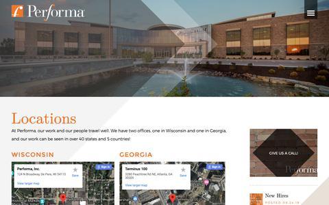 Screenshot of Locations Page performainc.com - Performa Office Locations | Performa - captured Sept. 27, 2018