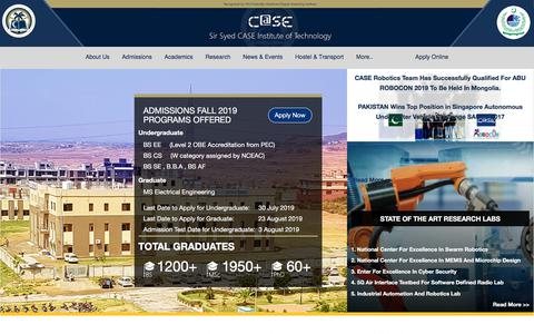 Screenshot of Home Page case.edu.pk - .:: SS-CASE-IT: Sir Syed CASE Institute of Technology, Islamabad ::. - captured July 15, 2019