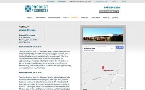 Screenshot of Maps & Directions Page prodres.com - Directions - Product ResourcesProduct Resources - captured Nov. 11, 2016