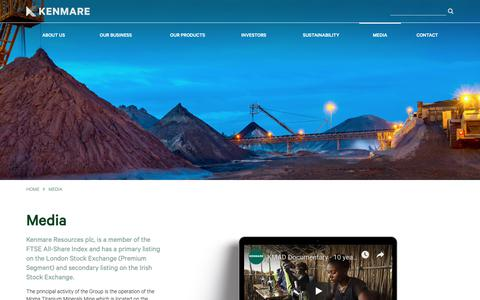 Screenshot of Press Page kenmareresources.com - Kenmare Resources plc :: Media - captured Oct. 15, 2018