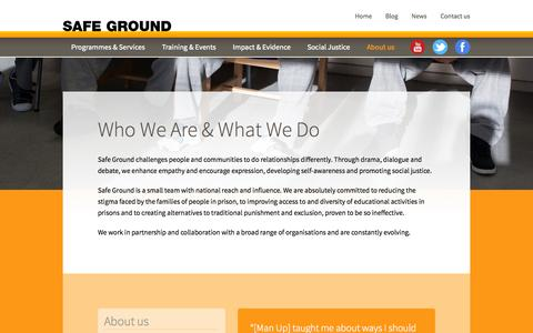 Screenshot of About Page safeground.org.uk - Who We Are & What We Do – Safe Ground - captured Oct. 2, 2014