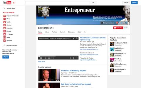 Screenshot of YouTube Page youtube.com - Entrepreneur  - YouTube - captured Oct. 22, 2014