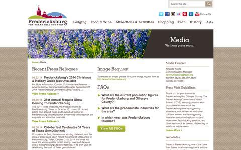 Screenshot of Press Page visitfredericksburgtx.com - Reporters, Media and News | Fredericksburg TX CVB - captured Sept. 25, 2014