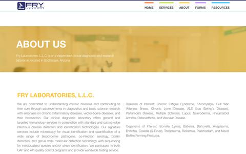 Screenshot of About Page frylabs.com - About Us - Fry Laboratories, L.L.C - captured Oct. 14, 2017