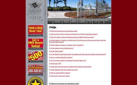 Screenshot of FAQ Page electricguarddog.com - Electric Security Fencing FAQs | Electric Guard Dog - captured Sept. 29, 2014