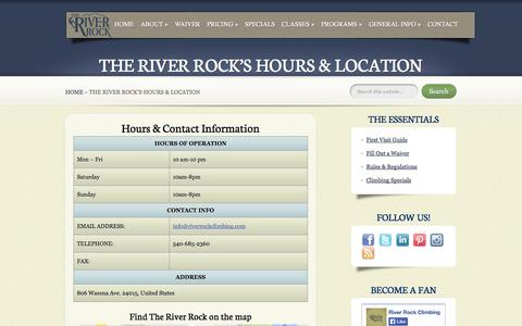Screenshot of Hours Page riverrockclimbing.com - The River Rock's Hours & Location | River Rock Climbing - captured Oct. 9, 2014