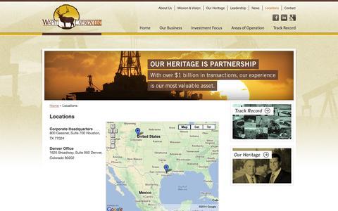 Screenshot of Locations Page wapitienergy.com - Locations | Wapiti Energy - captured Oct. 27, 2014