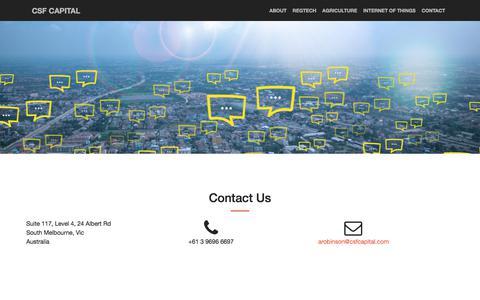 Screenshot of Contact Page csfcapital.com - Csf Capital - Contact - captured July 14, 2018