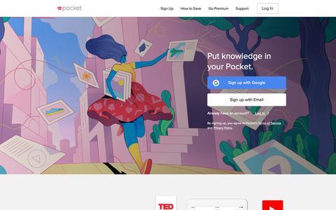 Screenshot of Home Page getpocket.com - Pocket - captured Feb. 10, 2019