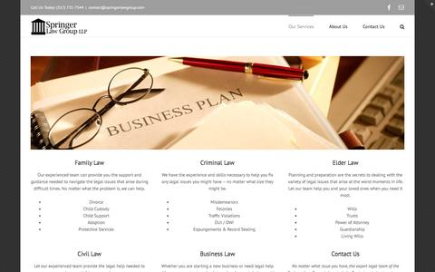 Screenshot of Services Page springerlawgroup.com - Legal Services - Springer Law Group, LLP - Indianapolis, IN - captured Feb. 16, 2016