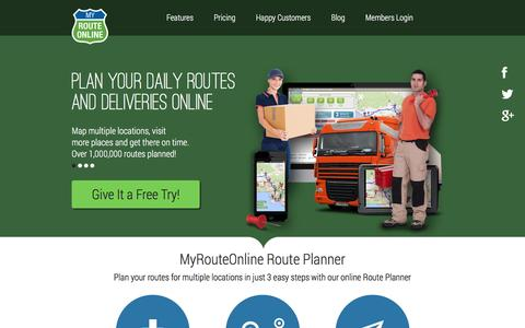 Screenshot of Home Page myrouteonline.com - Route Planner - Route planning multiple locations | MyRouteOnline - captured Jan. 15, 2016