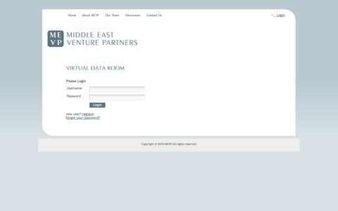 Screenshot of Login Page mevp.com - Middle East Venture Partners - Virtual Data Room - captured Oct. 27, 2014