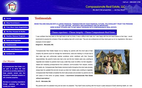 Screenshot of Testimonials Page compassionaterealestate.com - Short Sale Testimonials/Short Sale Help/Short Sale - captured Oct. 22, 2014