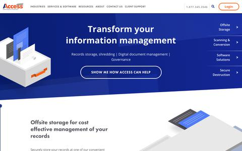 Screenshot of Home Page accesscorp.com - Document Storage - Records Management - Shredding - Access - captured July 18, 2019