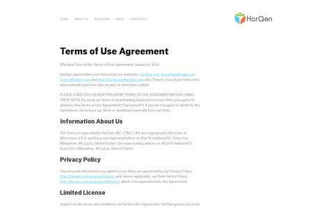 Screenshot of Terms Page harqen.com - HarQen Use Policy - captured July 19, 2014