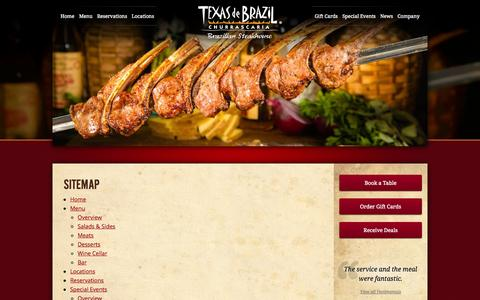 Screenshot of Site Map Page texasdebrazil.com - Sitemap | Texas de Brazil - Brazilian Steakhouse - captured Sept. 19, 2014