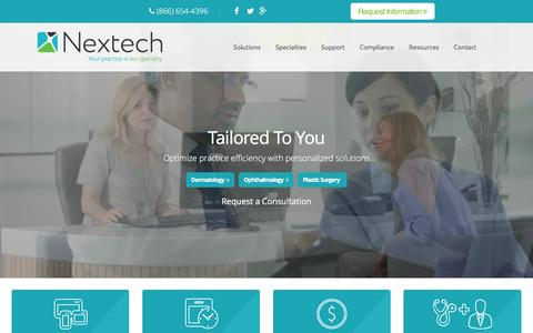 Screenshot of Home Page nextech.com - EMR | Medical Practice Management Software | Nextech | Tampa - captured Feb. 26, 2016