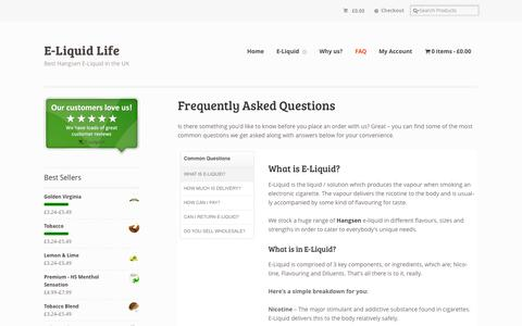 Screenshot of FAQ Page eliquidlife.co.uk - Frequently Asked Questions | E-Liquid Life UK - captured Sept. 26, 2014