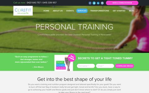 Screenshot of Services Page corefitnewcastle.com.au - Personal Training Packages in Newcastle п Work With a Top Personal Trainer from CoreFit Newcastle - captured Dec. 12, 2015