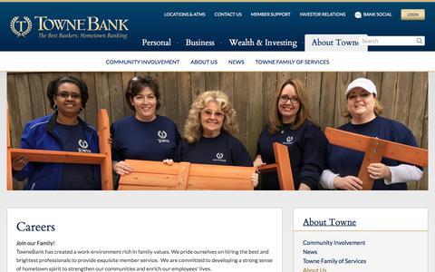 Screenshot of Jobs Page townebank.com - Careers | Your Hometown Bank - captured Jan. 24, 2017
