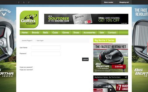 Screenshot of Signup Page golfersclub.co.za - User login - captured Nov. 2, 2014